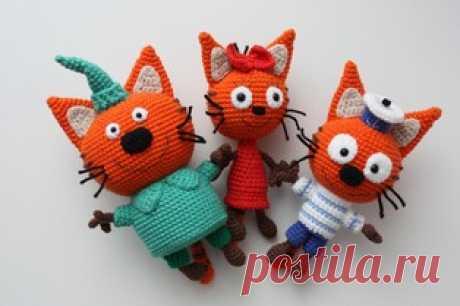 PDF Три кота или два кота и одна кошечка! Бесплатный мастер-класс, схема и описание для вязания игрушки амигуруми крючком. FREE amigurumi pattern. #амигуруми #amigurumi #схема #описание #мк #pattern #вязание #crochet #knitting #toy #handmade #рукоделие #кот #кошка #котик #кошечка #котенок #карамелька #компот #коржик #миу #cat #kitten