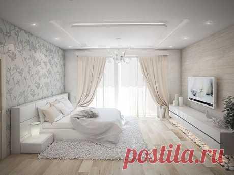 Современный дизайн спальни в светлых тонах