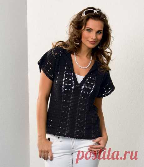 Пуловер на лето - схема вязания крючком с описанием на Verena.ru