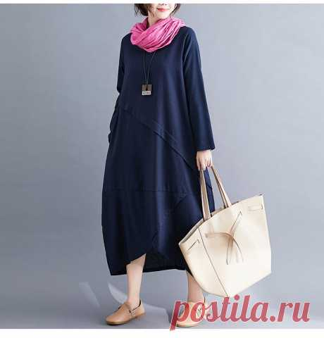 Blue Plus Size Autumn Cotton Linen Spliced Solid Female Lady Long Slee - idetsnkf