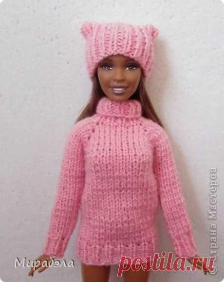 Свитер и шапочка для куклы Барби на спицах. МК