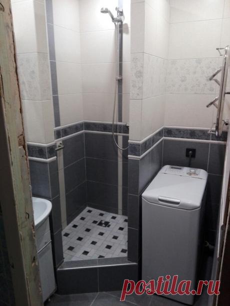 Вместо ванны соорудили душ и впихнули стиралку на 2 квадратных метрах   Твоя квартира   Яндекс Дзен