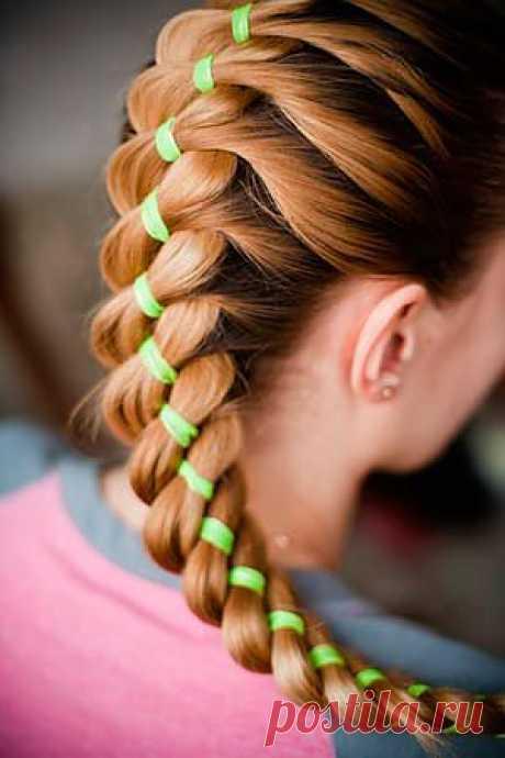 3 идеи, как вплести в косу ленту