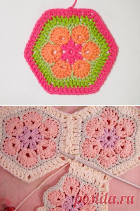 Цветочный фрагмент крючком АФРИКАНСКИЙ ЦВЕТОК для вязания игрушек