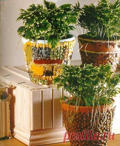 Декор цветочных горшков в интерьере
