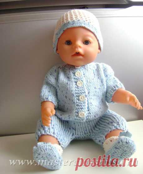 Летний костюмчик спицами(комбинезон,шапочка, пинетки) для куклы Беби Борн.