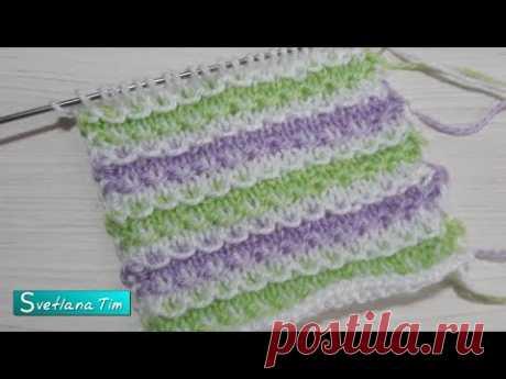 Трехцветный узор ленивый жаккард спицами