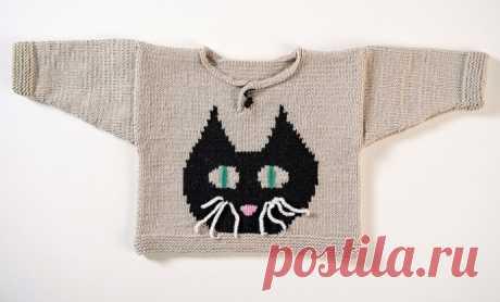 Вяжем детский пуловер с котиком из категории Интересные идеи – Вязаные идеи, идеи для вязания