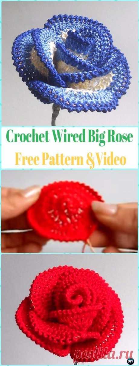 3D Роза крючком цветы бесплатные шаблоны и уроки