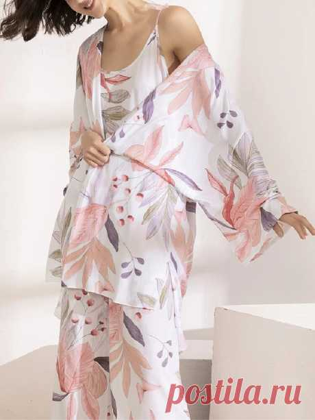 3Pcs Women Leaves Print V-Neck Sling Wide Leg Pants Home Pajama Set With Long S - US$29.99