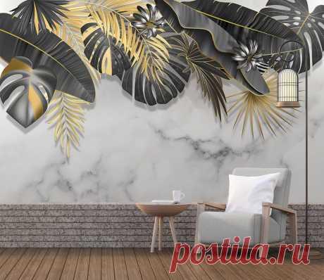 Фотообои Черно золотые листья на мраморе №dec_4544 от интернет-магазина KLV-oboi.ru
