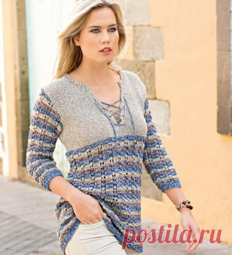 пуловер со шнуровкой и узором в полоску — HandMade