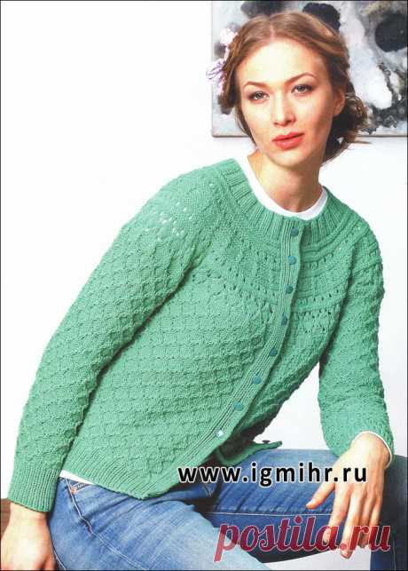 Вязание спицами. Женственный бирюзовый жакет с круглой кокеткой.: lvica_a