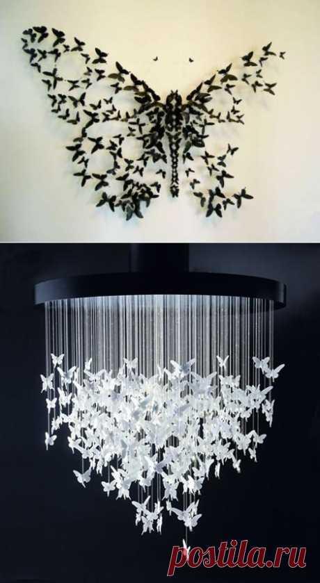 Бабочки в интерьере - оригинальный дизайн..