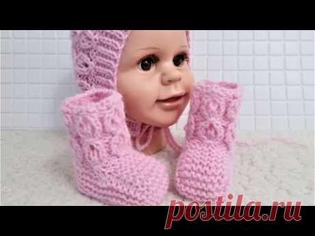 Нежные пинетки спицами для новорожденных. Подробный мастер класс