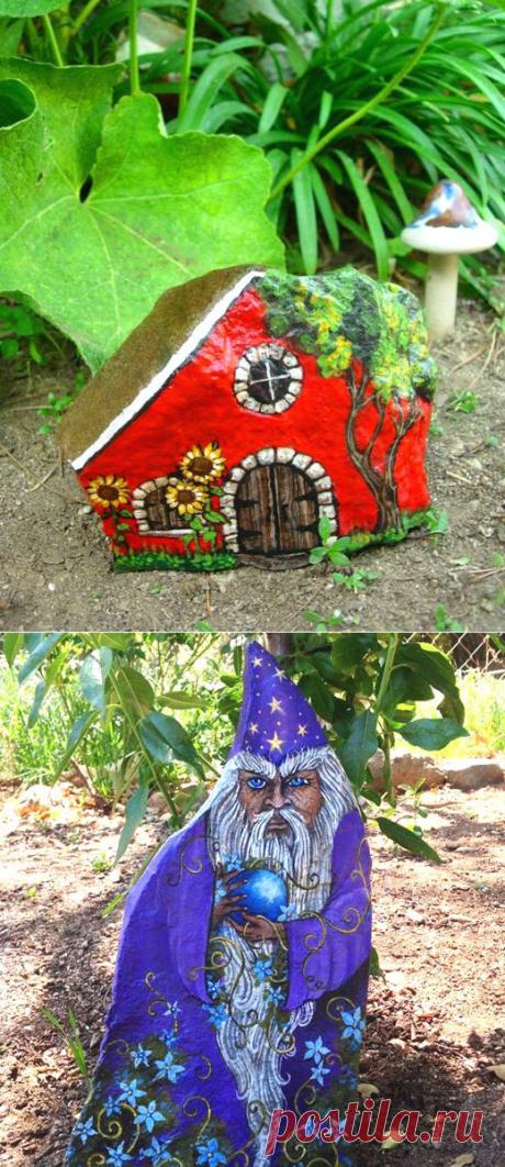 Украшения для сада из камней: мастер класс росписи, фото, 20 идей