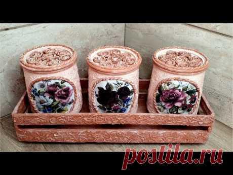 DIY/ Very beautiful Glass jars Decor / Kitchen Decoration Idea