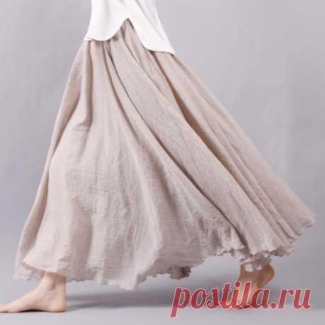 Sherhure 2021 женские хлопковые и льняные длинные юбки с эластичной талией, плиссированные макси юбки, Пляжная Бохо Винтажная летняя юбка макси