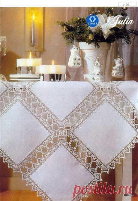 Красивые льняные скатерти из сочетания ткани и ажурного вязания - Сам себе волшебник