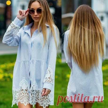 Платье рубашка с кружевом   очень красивое и нежное. Скидка. Доставка.