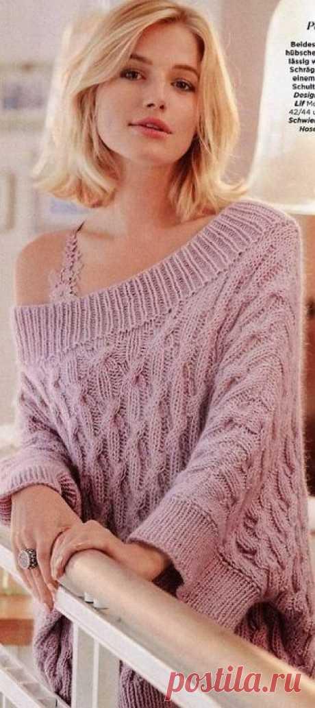 Пуловер с открытыми плечами (спицы)