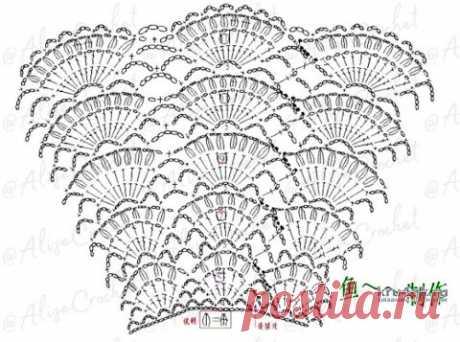 Пояс — баска Веер крючком. Работа Alise Crochet