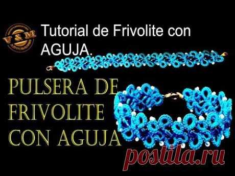 PULSERA DE FRIVOLITE CON AGUJA