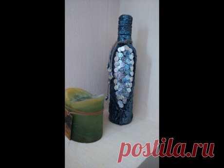 Декор бутылки монетами