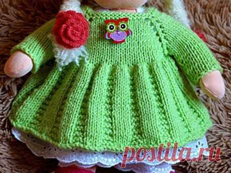 Мастер-класс : Вяжем платье для куклы