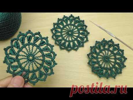 Вязание крючком КРУГЛЫЙ АЖУРНЫЙ МОТИВ новый мотив для ирландского кружева crochet motif irish lace