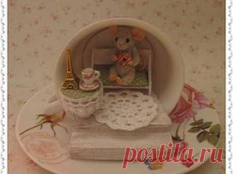 Мастерим сказочный домик в чашке для маленького мышонка - Ярмарка Мастеров - ручная работа, handmade