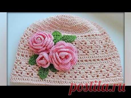La panameña (gorrito) tejida por el gancho para un verano. Knitted hat tutorial.