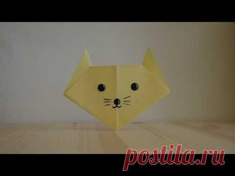 Оригами. Как сделать кота из бумаги (видео урок) - YouTube