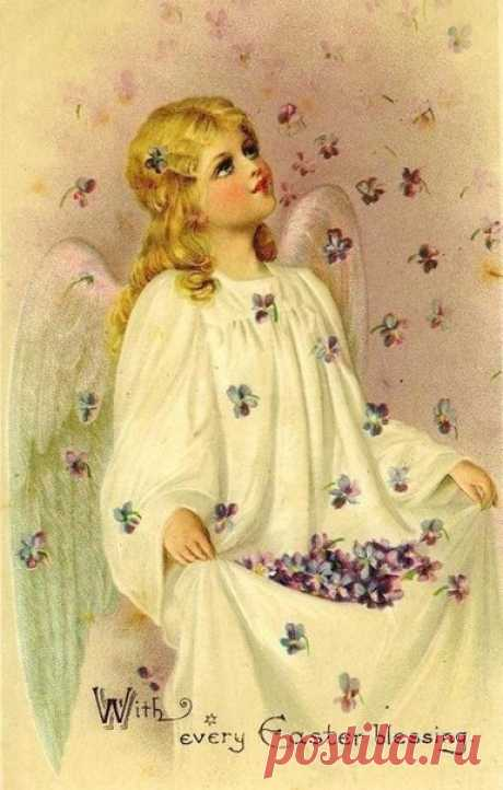 Пасхальные очень нежные винтажные открытки с ангелочками))))