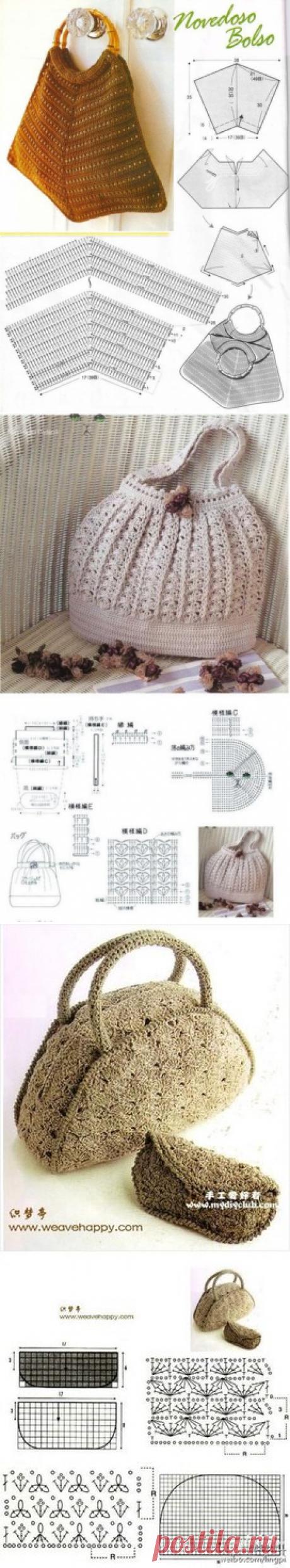 подборка сумок, связанных крючком