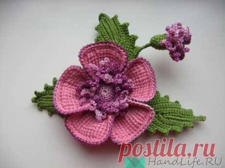 La flor, la labor de punto de Tunicia por el gancho (el vídeo) \/ Mi obra - la labor de punto