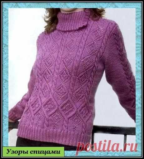 Красивый узор спицами для пуловера   Копилка Узоров / схемы вязания   Яндекс Дзен