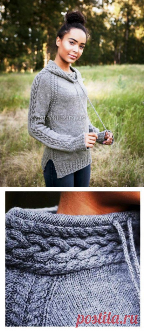 Пуловер реглан со шнуровкой. Подробное описание, схемы