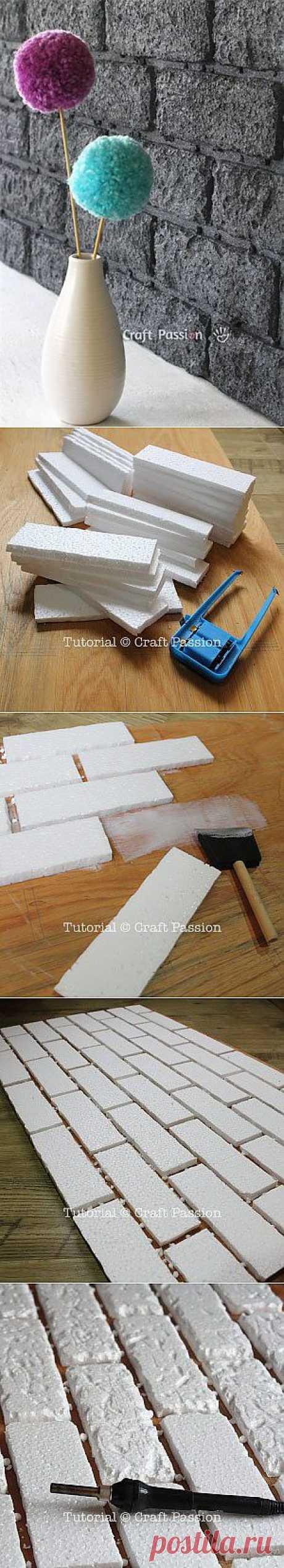 Имитация кирпичной стены при помощи пенопласта. Вам понадобится: пенопласт, фанера для основы, нож для нарезания пенопласта, паяльник, клей (подойдет строительный ПВА) и аэрозольная автомобильная краска.