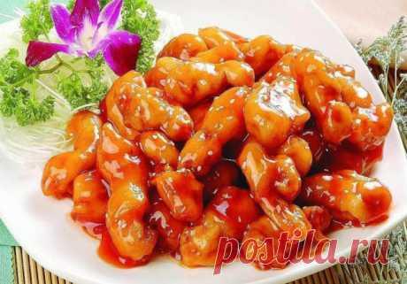Куриное филе в кисло-сладком соусе по-китайски.   Мясо получается очень вкусным и сочным. Буквально тает во рту! МАРИНАД Соль — 1/4 столовой ложки. Соевый соус