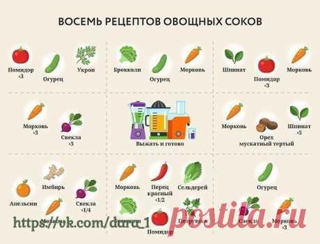 8 рецептов овощных соков