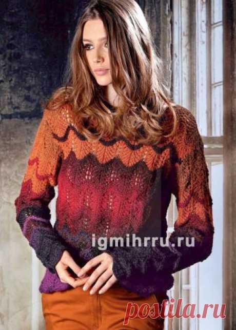 Яркий пуловер с узором «Павлиний хвост». Вязание спицами