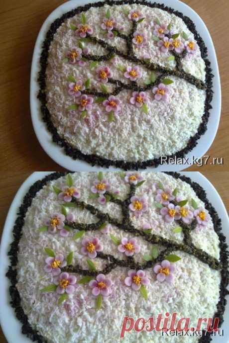 """Красивый салат """"Сакура"""" к празднику!"""