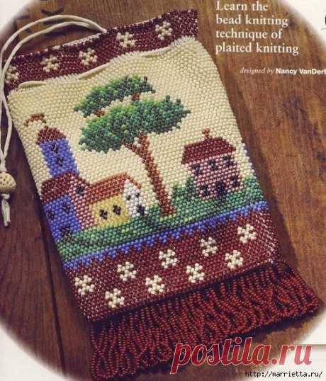Сумка-мешочек из бисера (вязание)