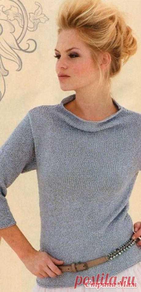 Серый пуловер спицами Размеры: 32-34(36-38)40-42(44-46)48-50(52-54) Вязание простое