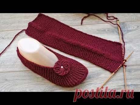 Следки по-турецки на двух спицах 🍒 Two-spoke slippers - YouTube