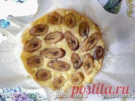 Заливной творожный пирог с бананами.