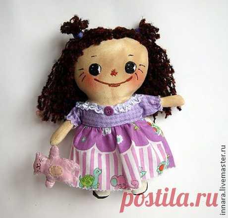 Тряпичная кукла Малышка - фиолетовый,тряпичная кукла,тряпичная игрушка