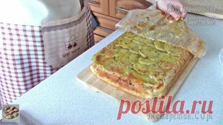 Заливной пирог с картофелем и мясом