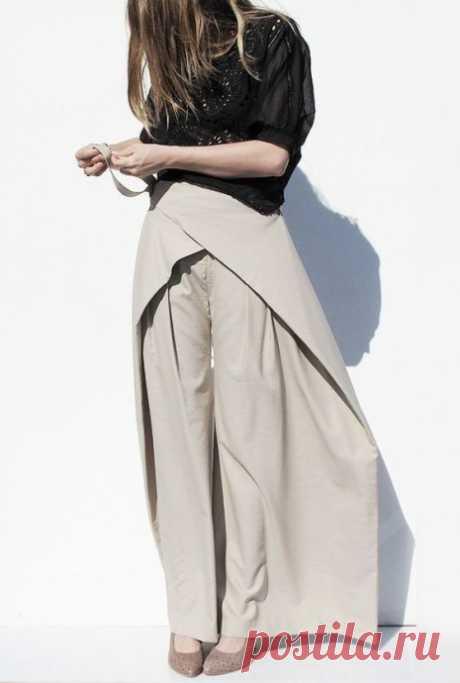 Идеи брюк с асимметричными запахивающимися деталями